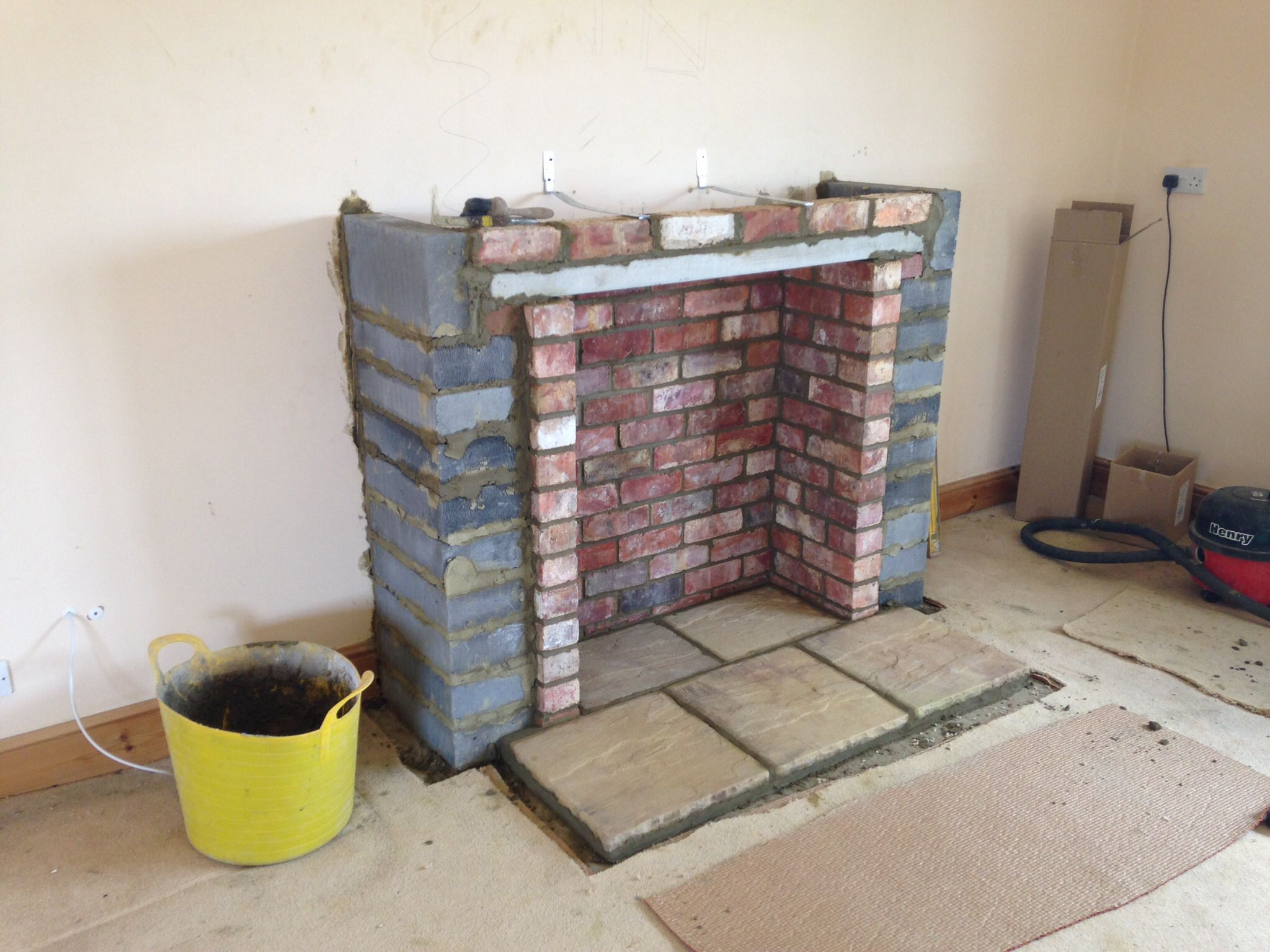 Wood Fireplace Construction Building Chimney Breast Ready For A Stove Colesforfires