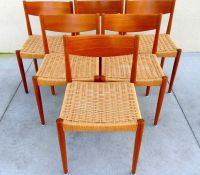 6 Mid Century Modern Woven Cord Teak Dining Chairs By ...