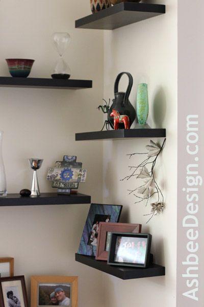 Alternating Shelves can help decorate an awkward corner Kitchen - living room corner shelf
