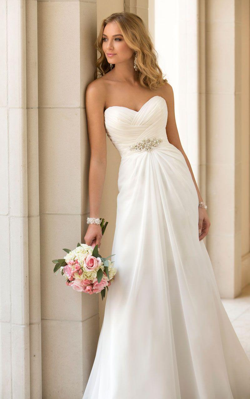 a line wedding dresses trend chiffon strapless sweetheart slim a line wedding dress with crystal brooch