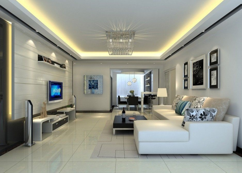 Living Room with Plasma TV Wall Unit Furniture and White Wall - wall units for living rooms