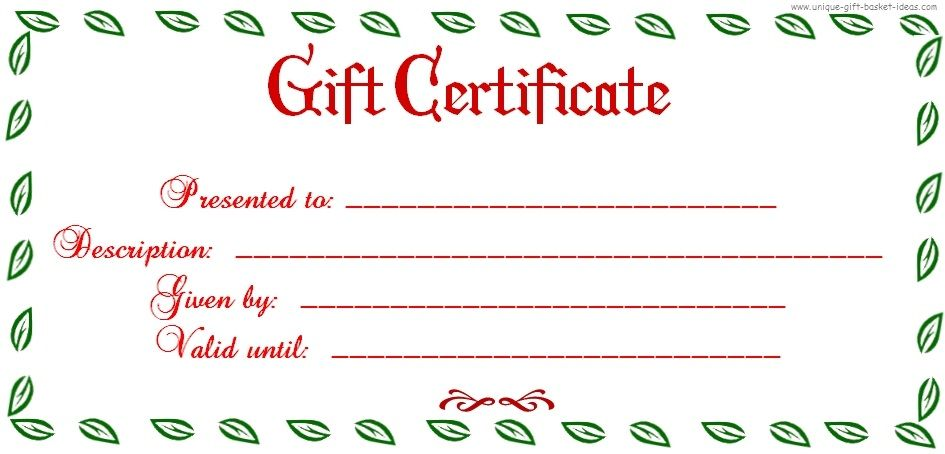 Free Printable Blank Gift Certificate Printable Christmas Gift - blank gift certificates templates