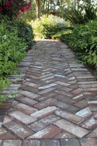 Herringbone pattern handmade brick in walkway at Old Salem ...