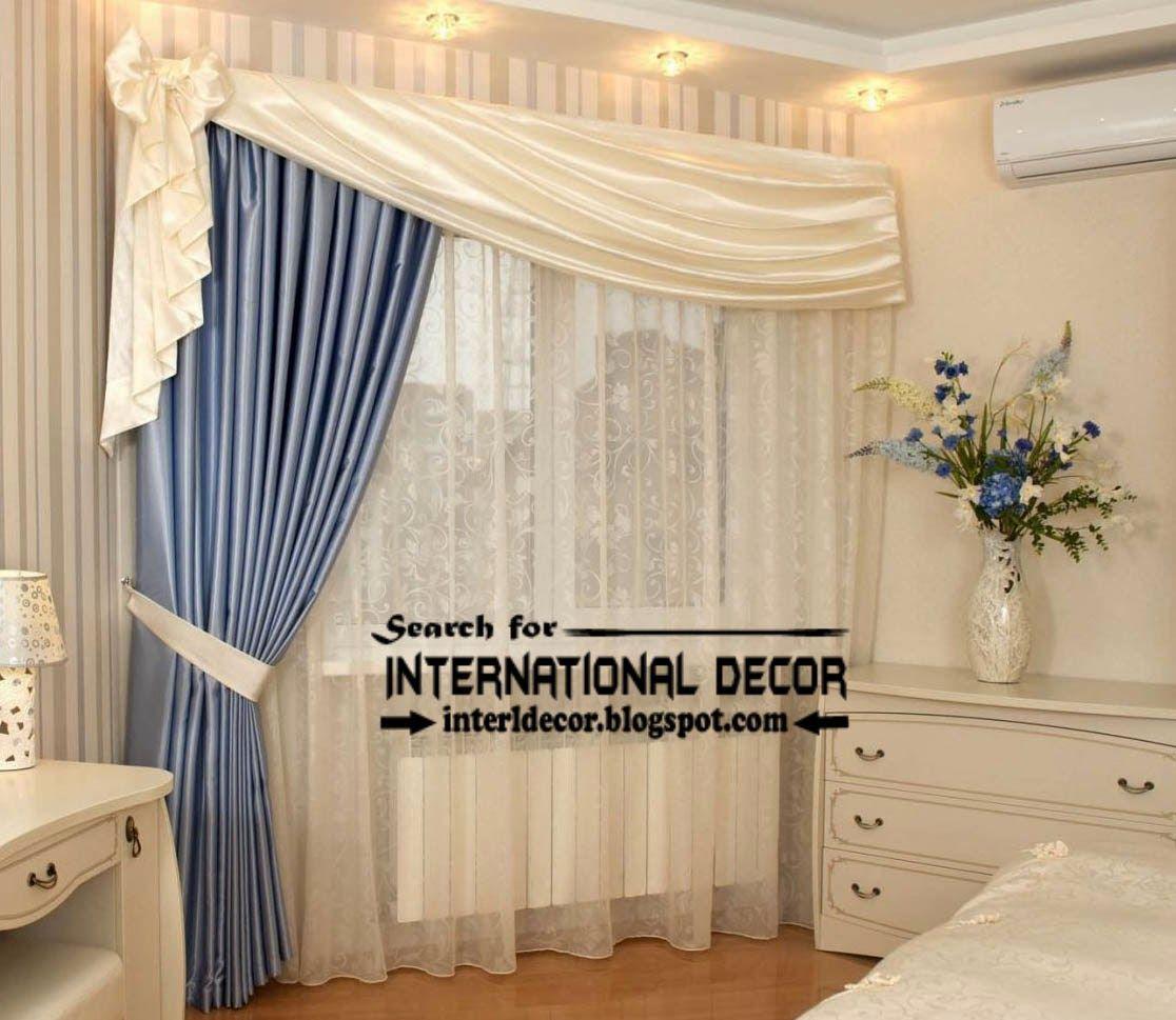Unique bedroom curtain design blue and white curtains
