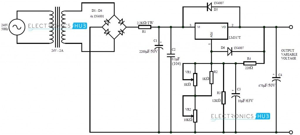 lm380 variable split power supply electronic project circuit design