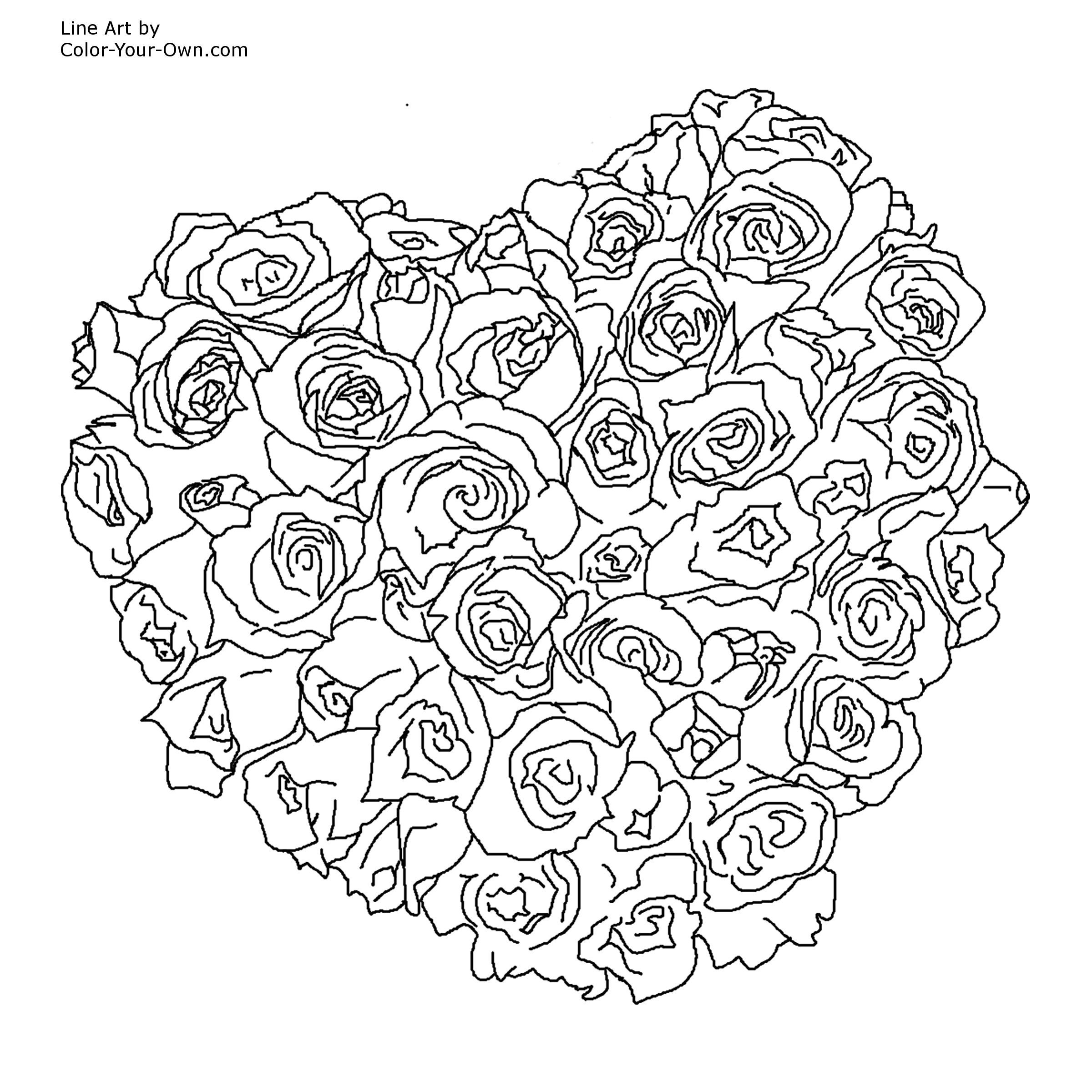 Online coloring hearts - Flowers And Hearts Coloring Pages Printable Coloring Pages Hearts And Flowers Best Coloring Pages 2017 Free