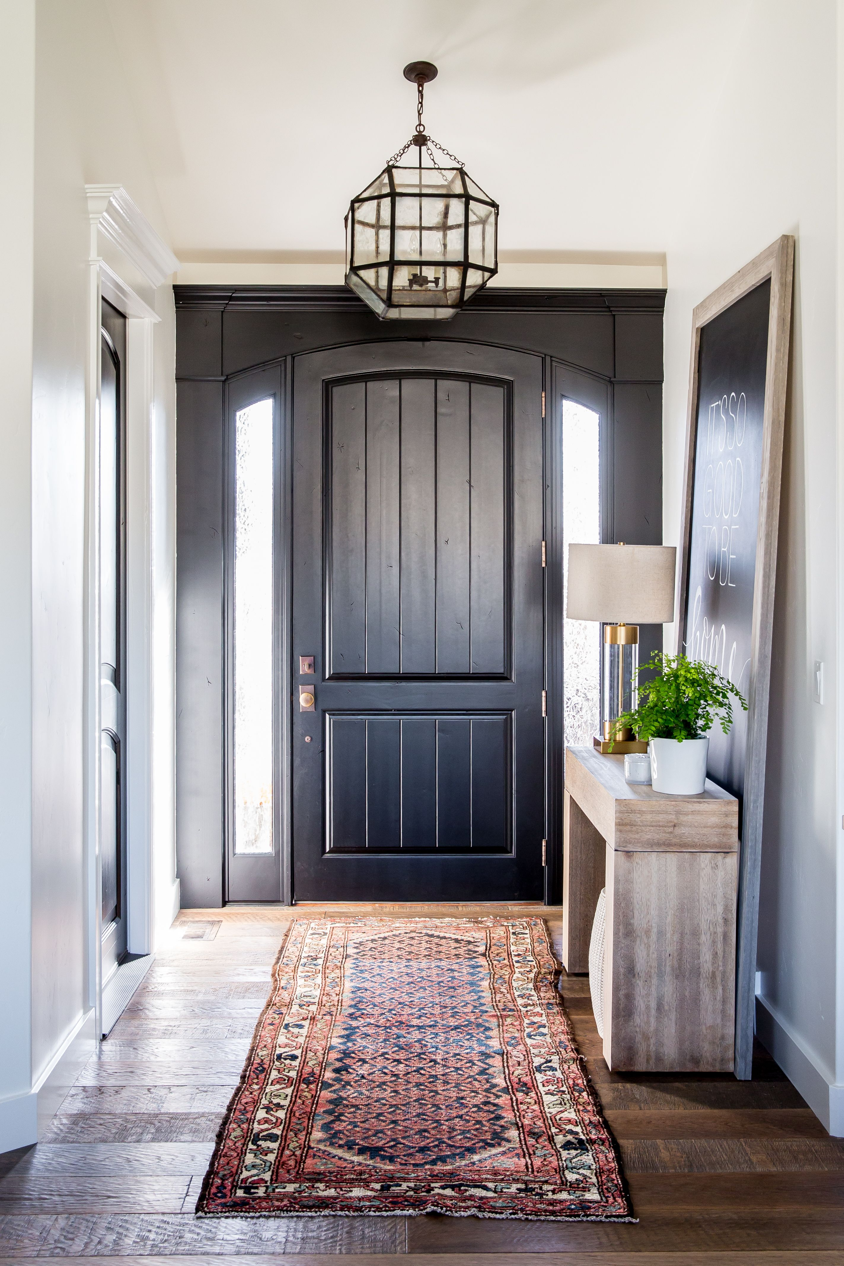 Entry Door Rug Entryway With Black Front Door And A Kilim Rug Interiors