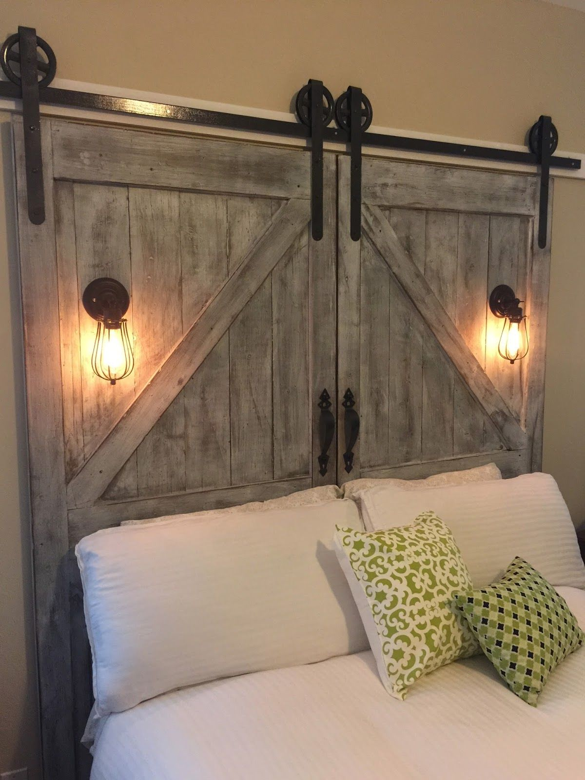 Lights Over Headboard Cheaper And Better Diy Barn Door Headboard And Faux Barn