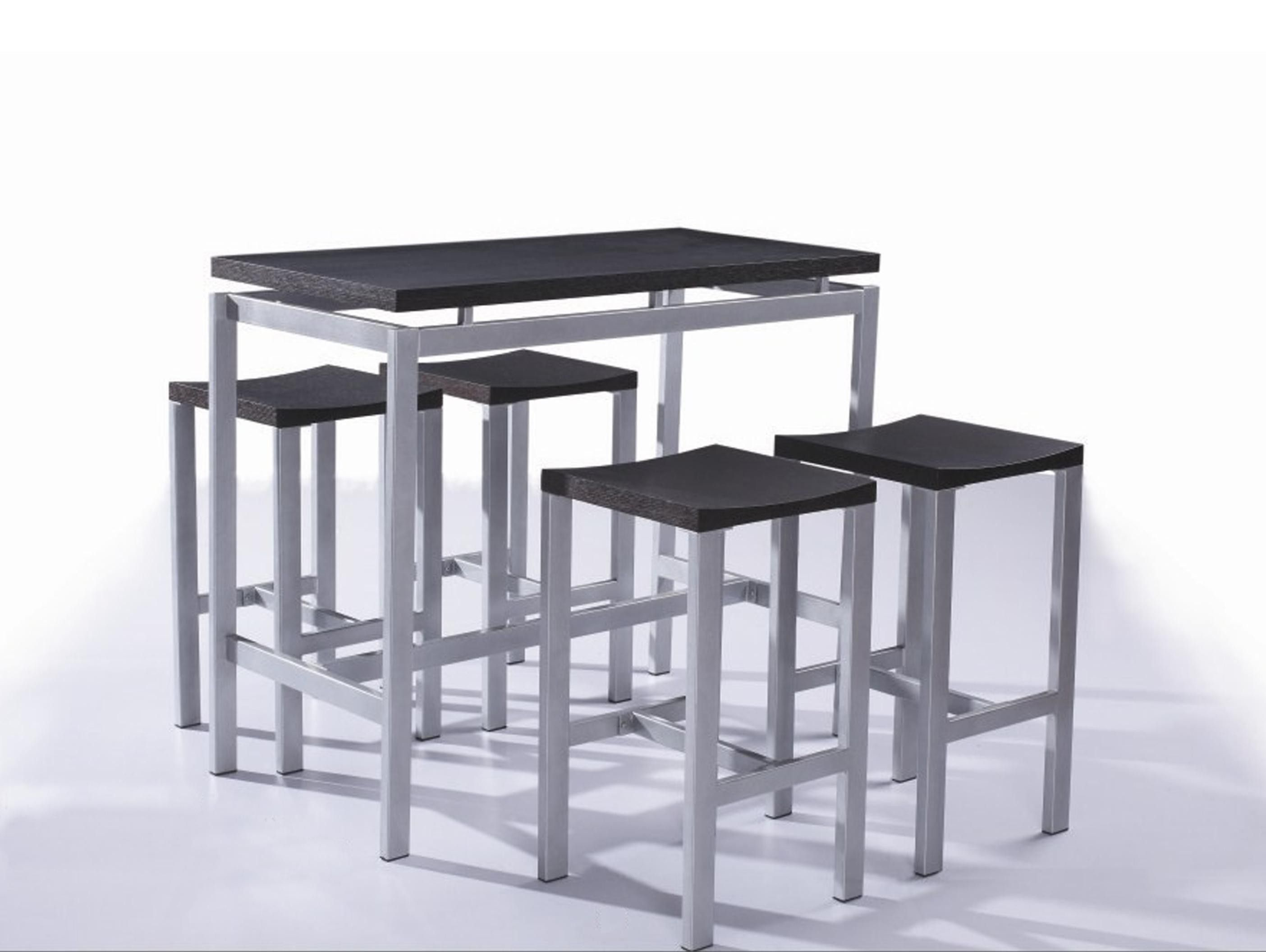 Set De 1 Table Bar Et 4 Tabourets Noir Table Haute Et 4 Tabourets Contemporain Noir Madrid