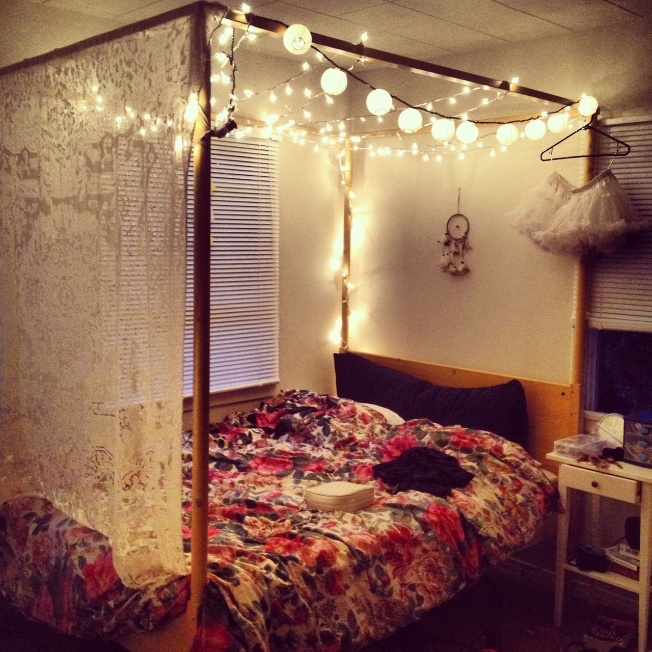 Want a cheap canopy bed find a simple brown or black frame and some pvc