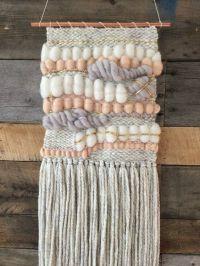 Handmade woven wall art in speckled grey wool yarn, light ...