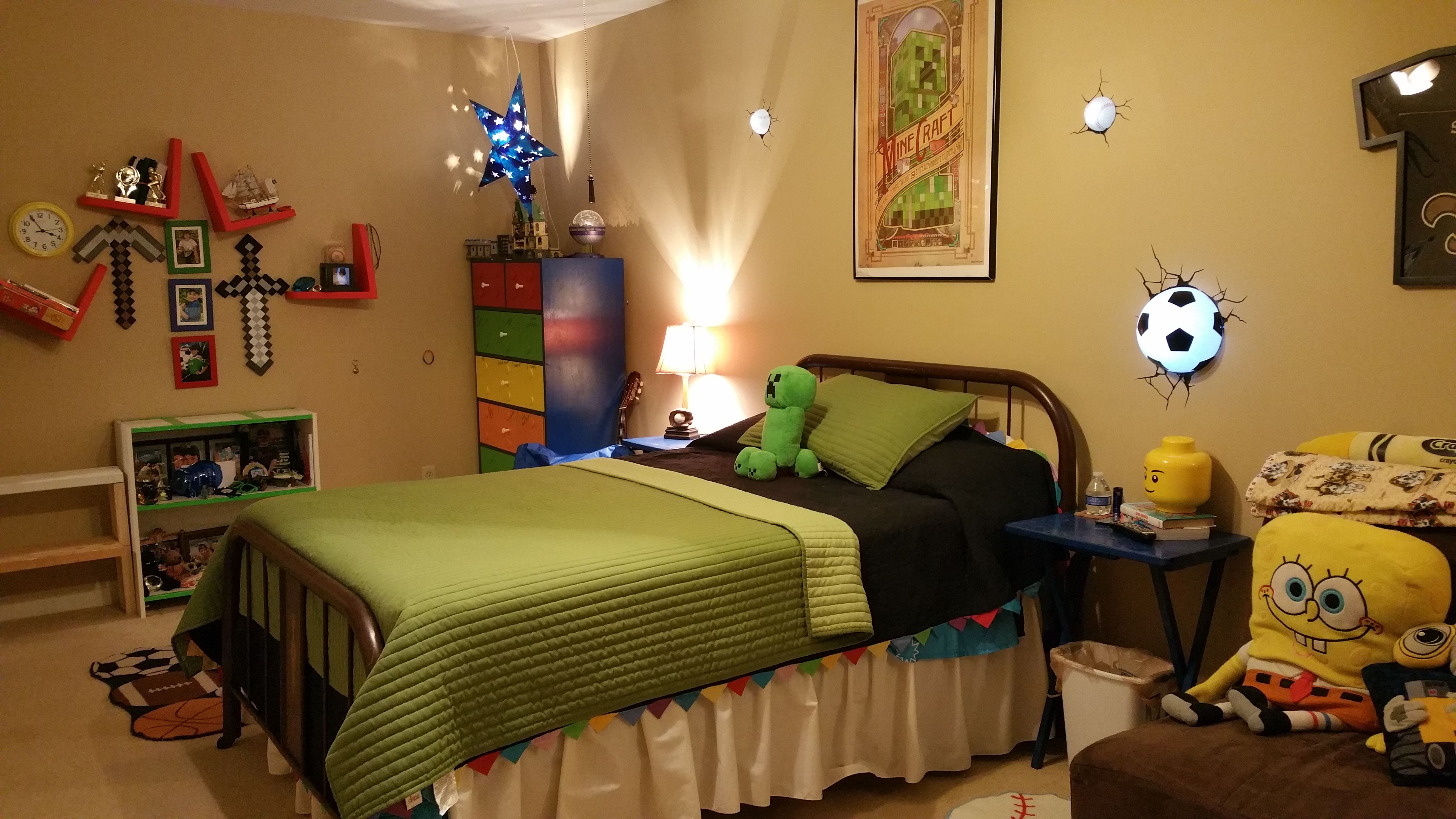 Teen Themed Rooms 10 Year Old Boys Room With Sports And Minecraft Theme My