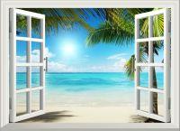 3D Sunshine Beach Window View Removable Wall Art Stickers
