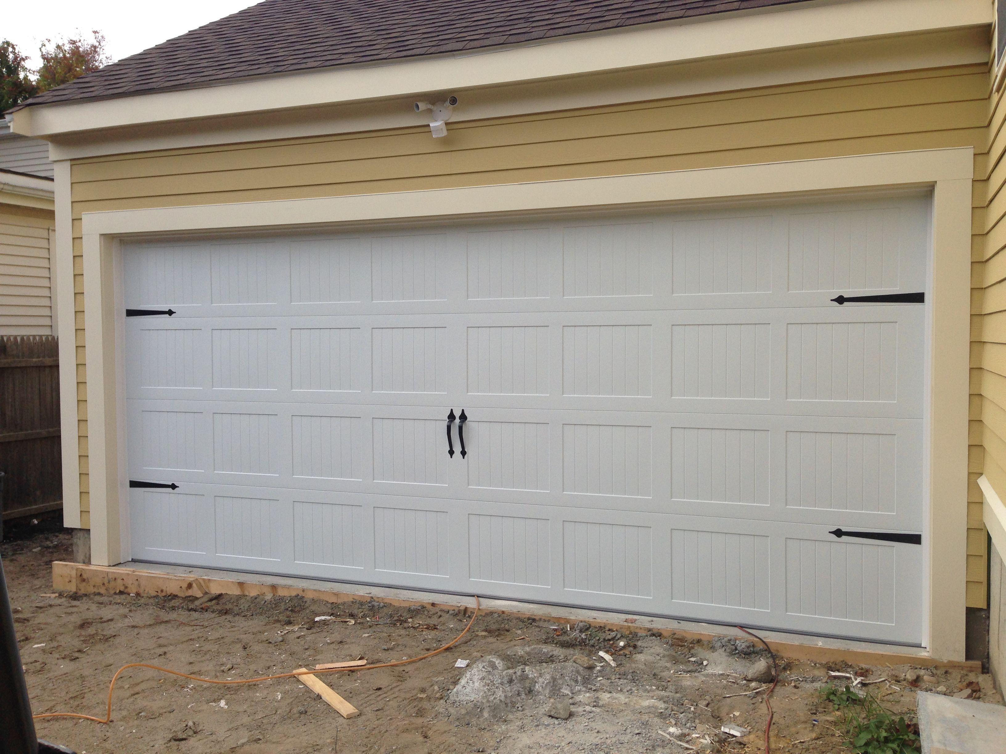 c h i overhead doors model 5283 steel carriage house style garage door in white with flat