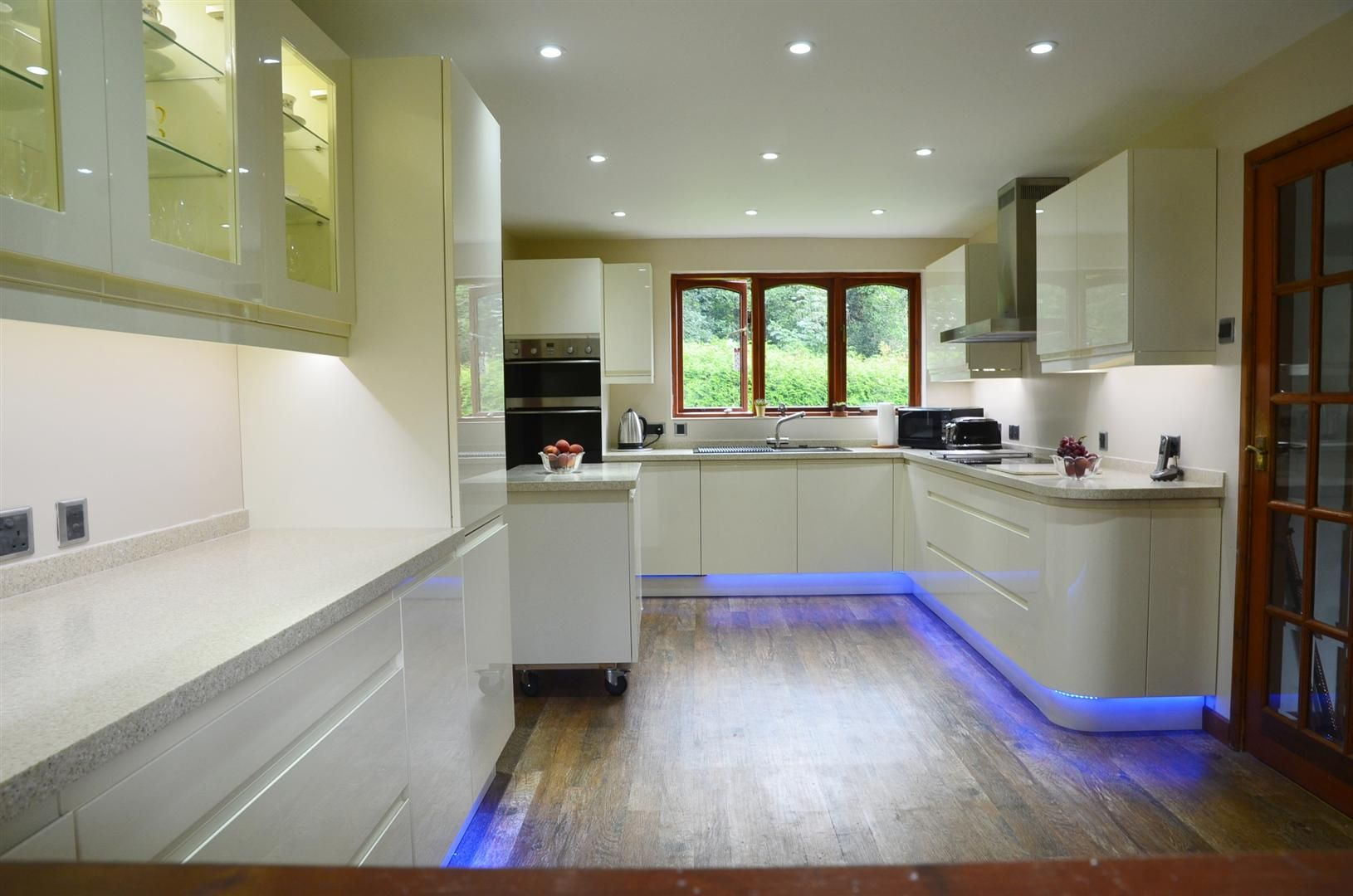 Energy efficient led downlights combined with colour changing led strip can really add to kitchen aesthetic