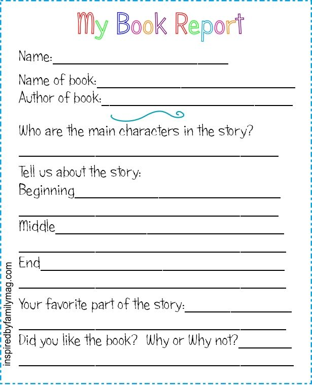 Printable Book Report Forms {Elementary Books, Book reports and - printable book review template