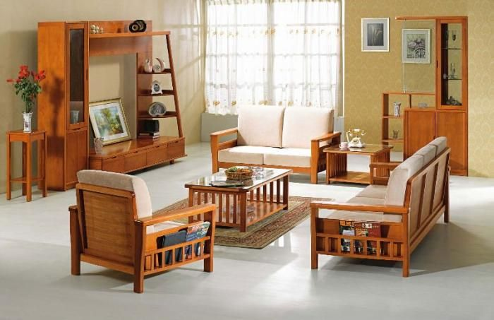 Wooden sofa and furniture set designs for small living room - wood living room furniture