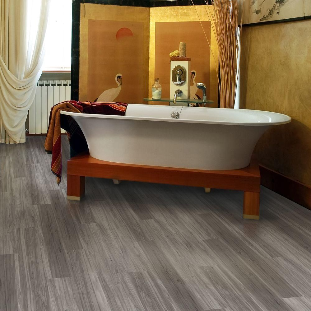 home depot kitchen flooring TrafficMASTER Allure Plus 5 in 36 in Grey Maple Luxury Vinyl Plank Flooring 22 5 sq ft Case