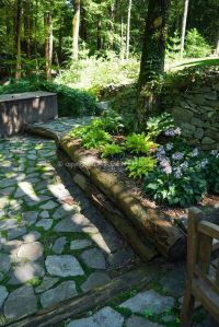 Raised garden bed in shade under trees with stone patio ...