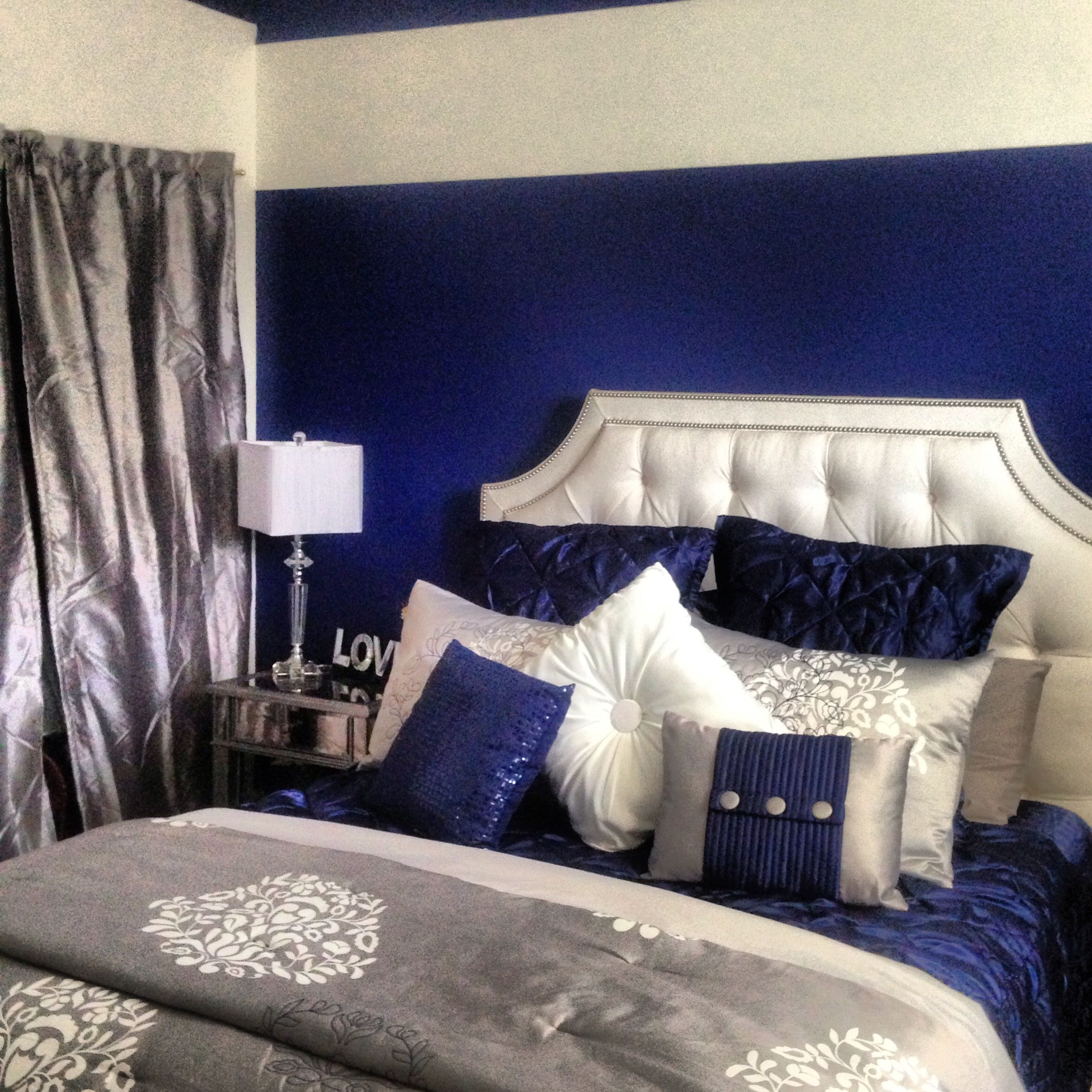 Love this royal blue silver white grey i m completely obsessed in love with my bedroom bed is custom made from ethan allen bed set is entirely daisy