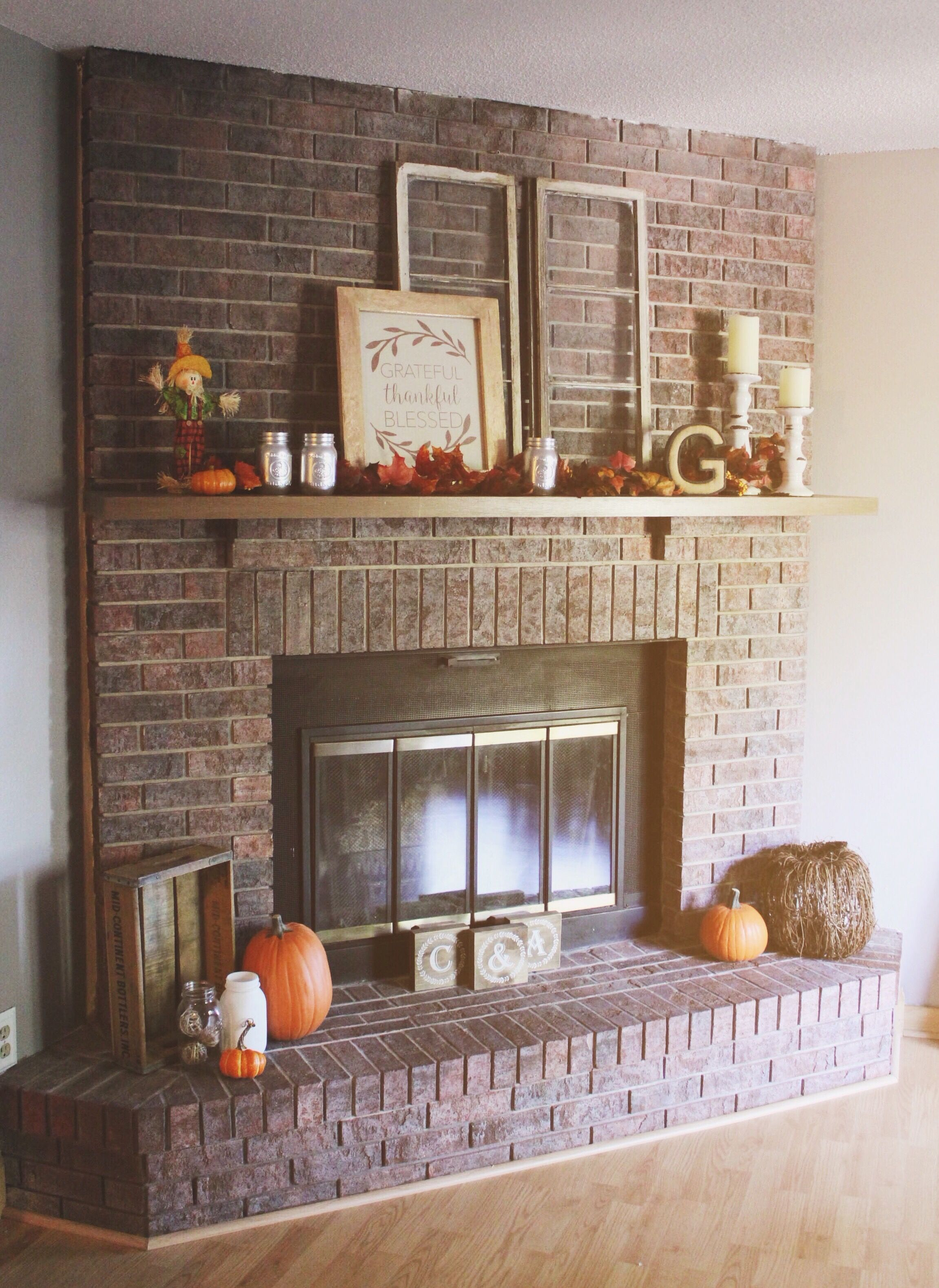 How To Decorate Fireplace Wall Our Cozy Rustic Chic Fall Red Brick Fireplace Mantel Decor