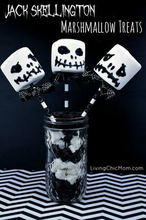 Jack Skellington Marshmallow Treats (from Nightmare Before - nightmare before christmas baby shower decorations