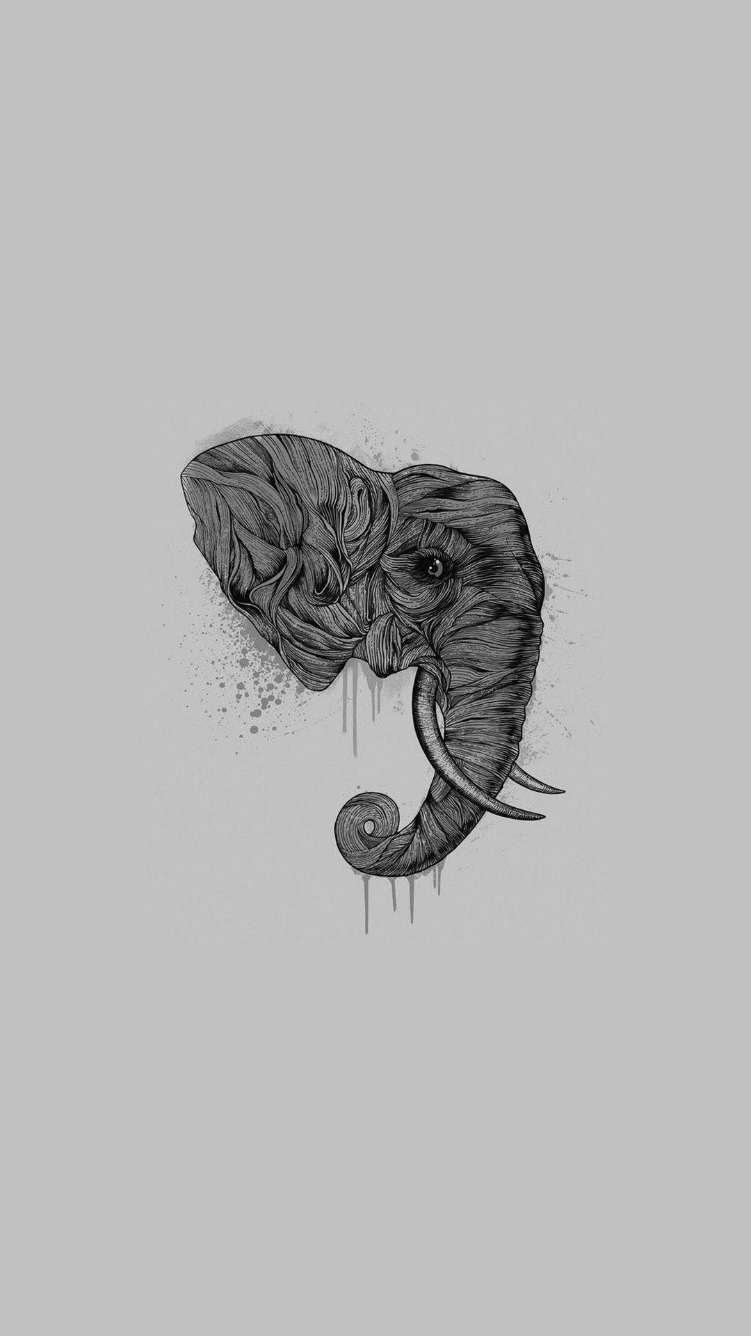 Elephant art ddark illust drawing animal iphone 6 plus wallpaper