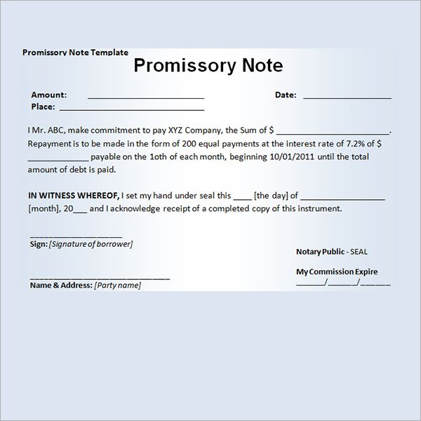 Printable Sample Promissory Note Sample Form Real Estate Forms - draft promissory note agreement