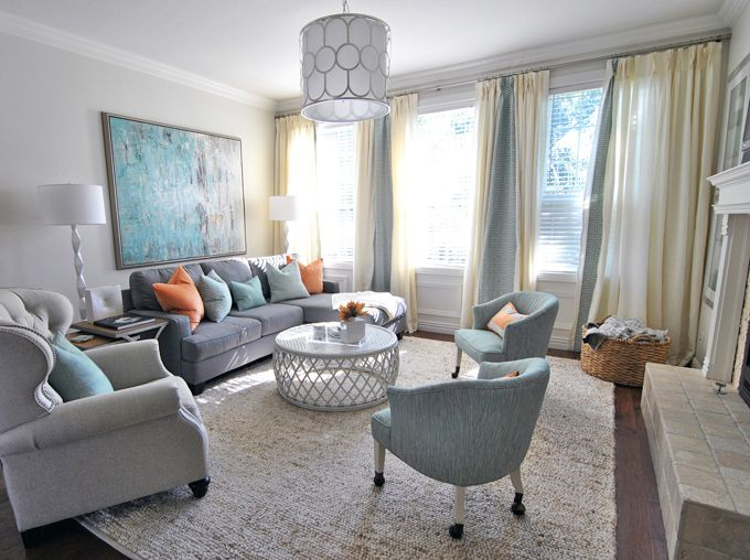 Classic living room \/ lounge - grey with peach and turquoise tones - peach living room