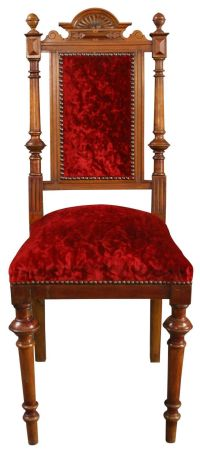 1900 Antique Dining Chair Renaissance Red Velvet Velour ...