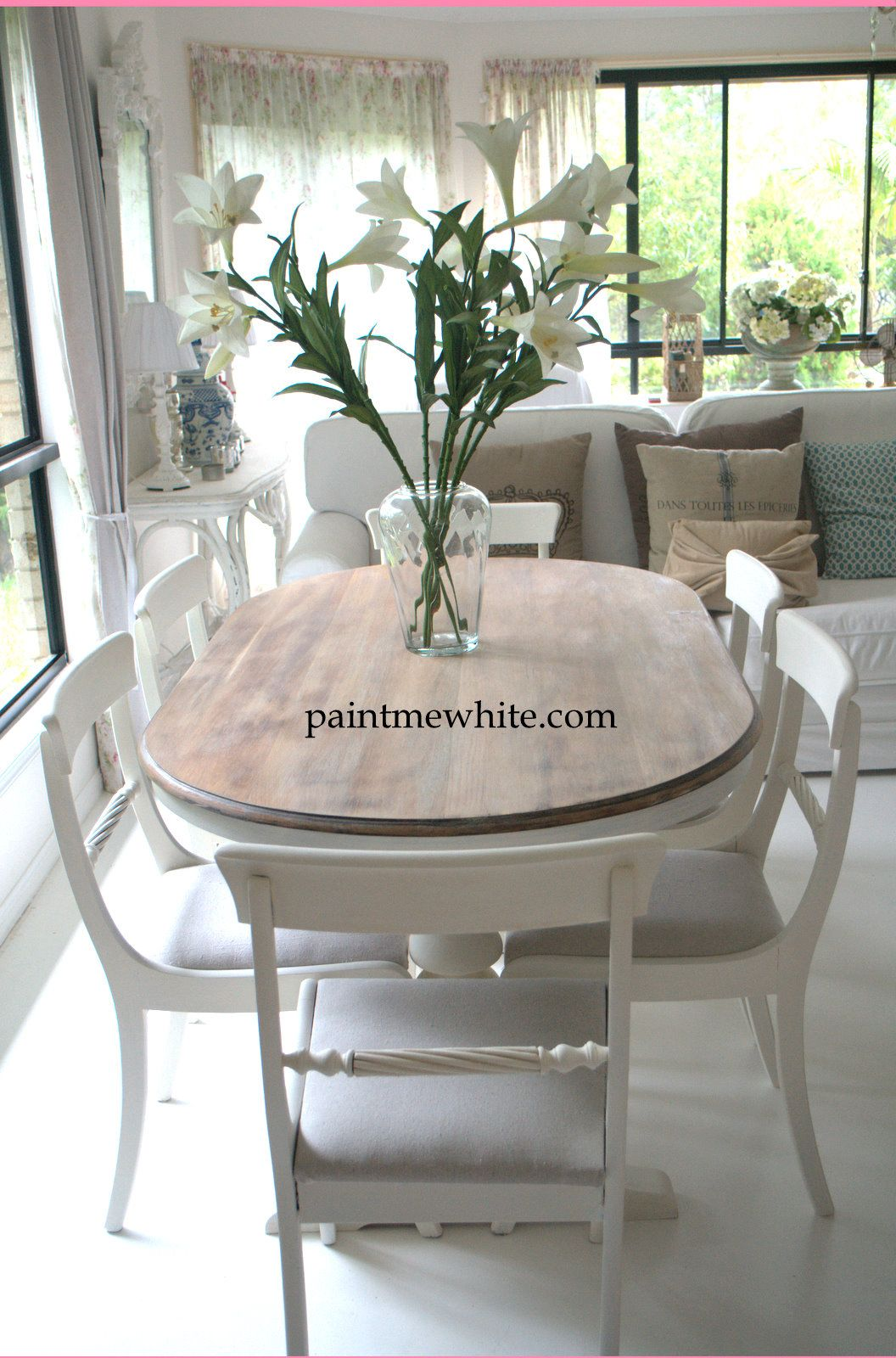 whitewash kitchen table Dining Table Makeover whitewash table top and white chalk paint the base and chairs