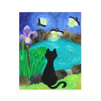 BLACK CAT and FIREFLIES, 16x20 Original Painting Acrylic ...