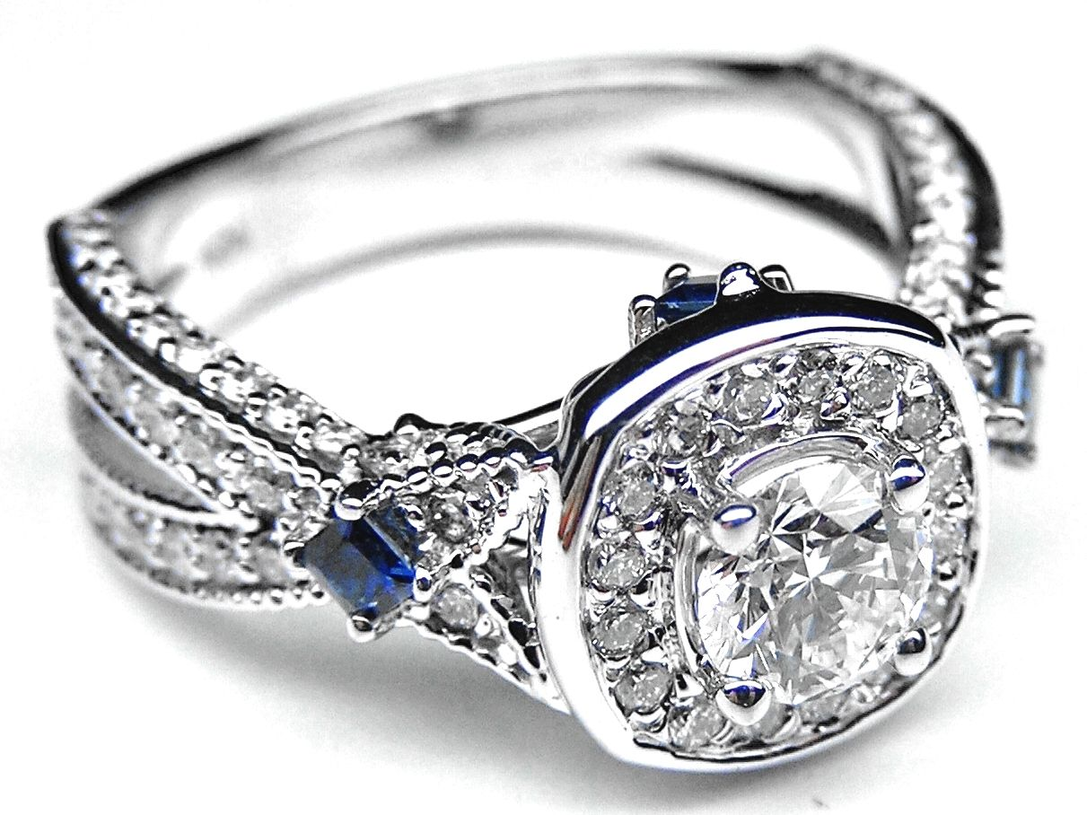 blue wedding rings Diamond Halo Laced Engagement Ring Blue Sapphire Accents in 14K White Gold