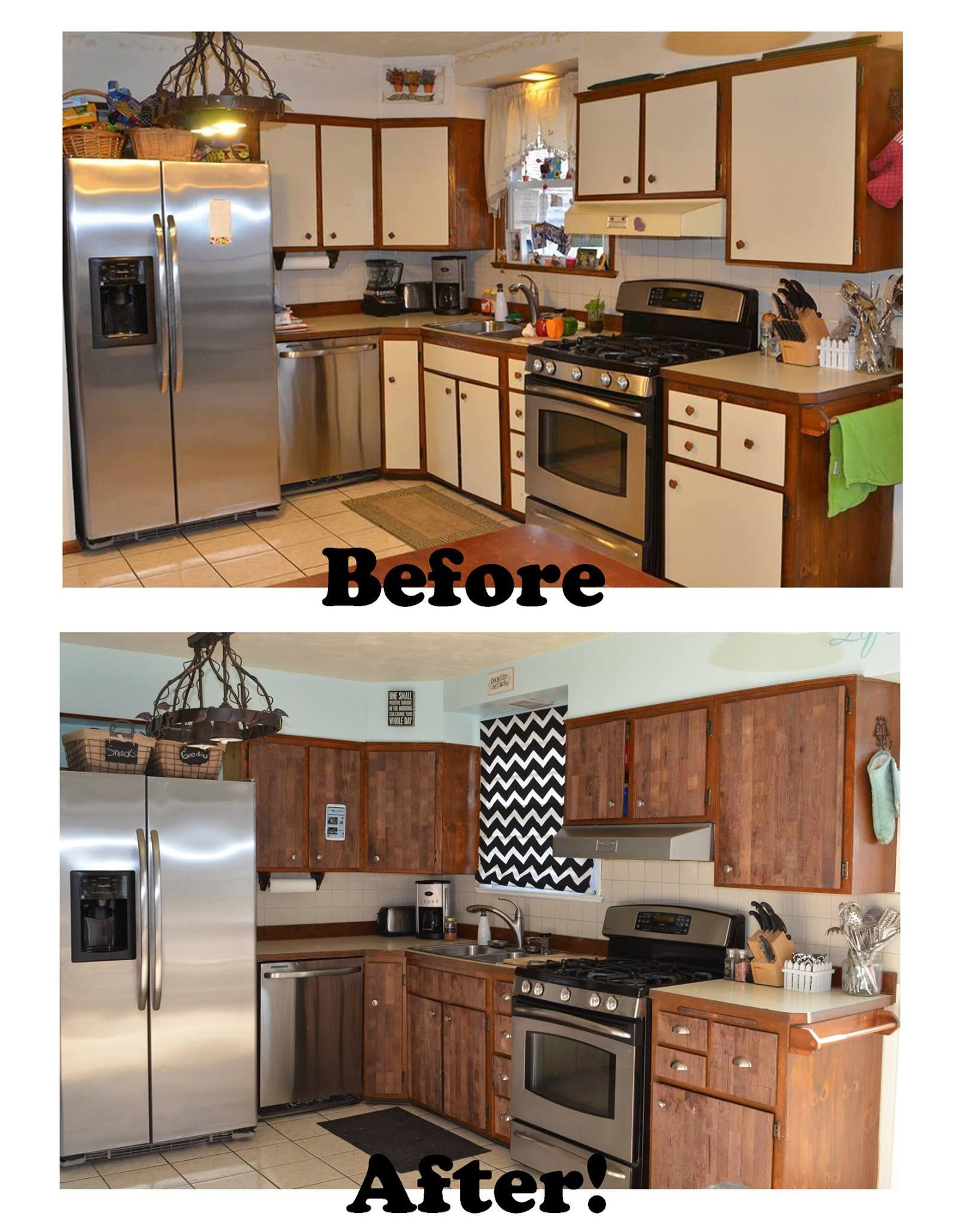 Laminate Kitchen Cabinets With Oak Trim Stikwood Before And After Kitchen Makeover Ugly Laminate
