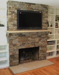 Decoration, Fabulous Stone Fireplace Surround With Shelf ...