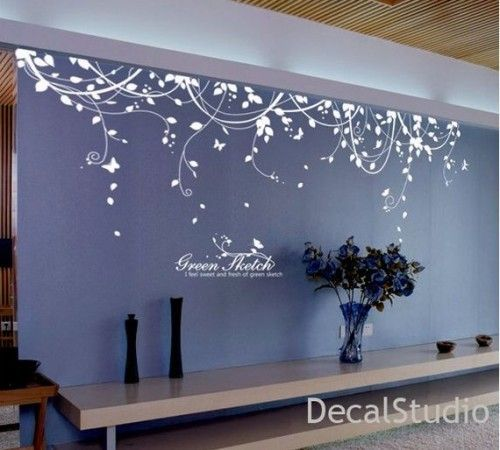 White Vinyl Sticker Wall Decal for Bedroom,living room - Flower - large wall decals for living room