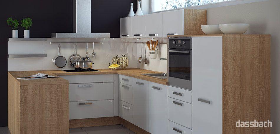 Frei geplante Einbau-Küche in U-Form in Weiß \ Holz Küche - moderne kuchen weiss holz