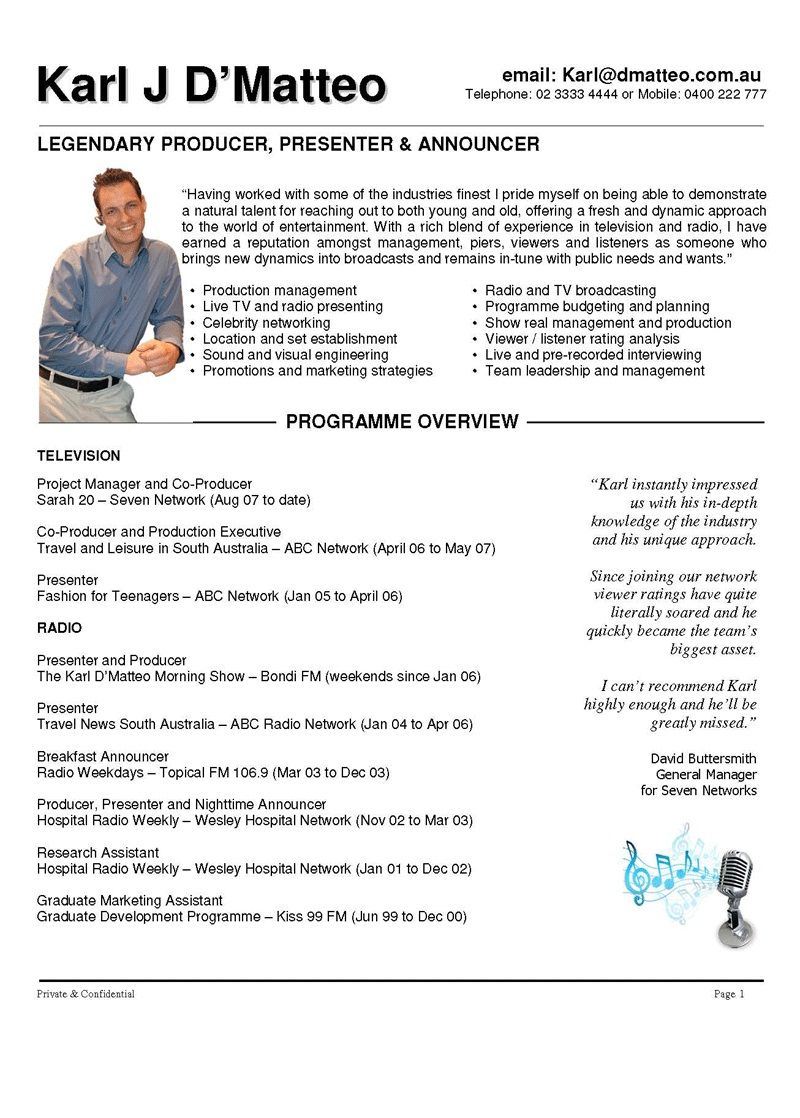 cv format for radio announcer