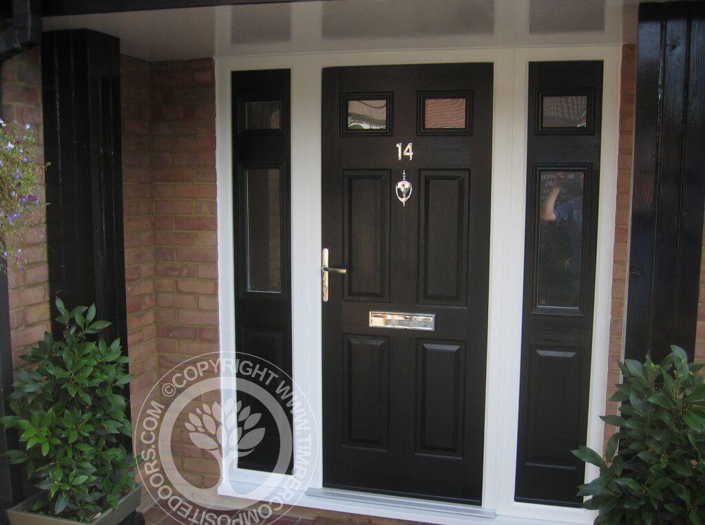 Elegant Black Composite Front Door With 2 Side Window