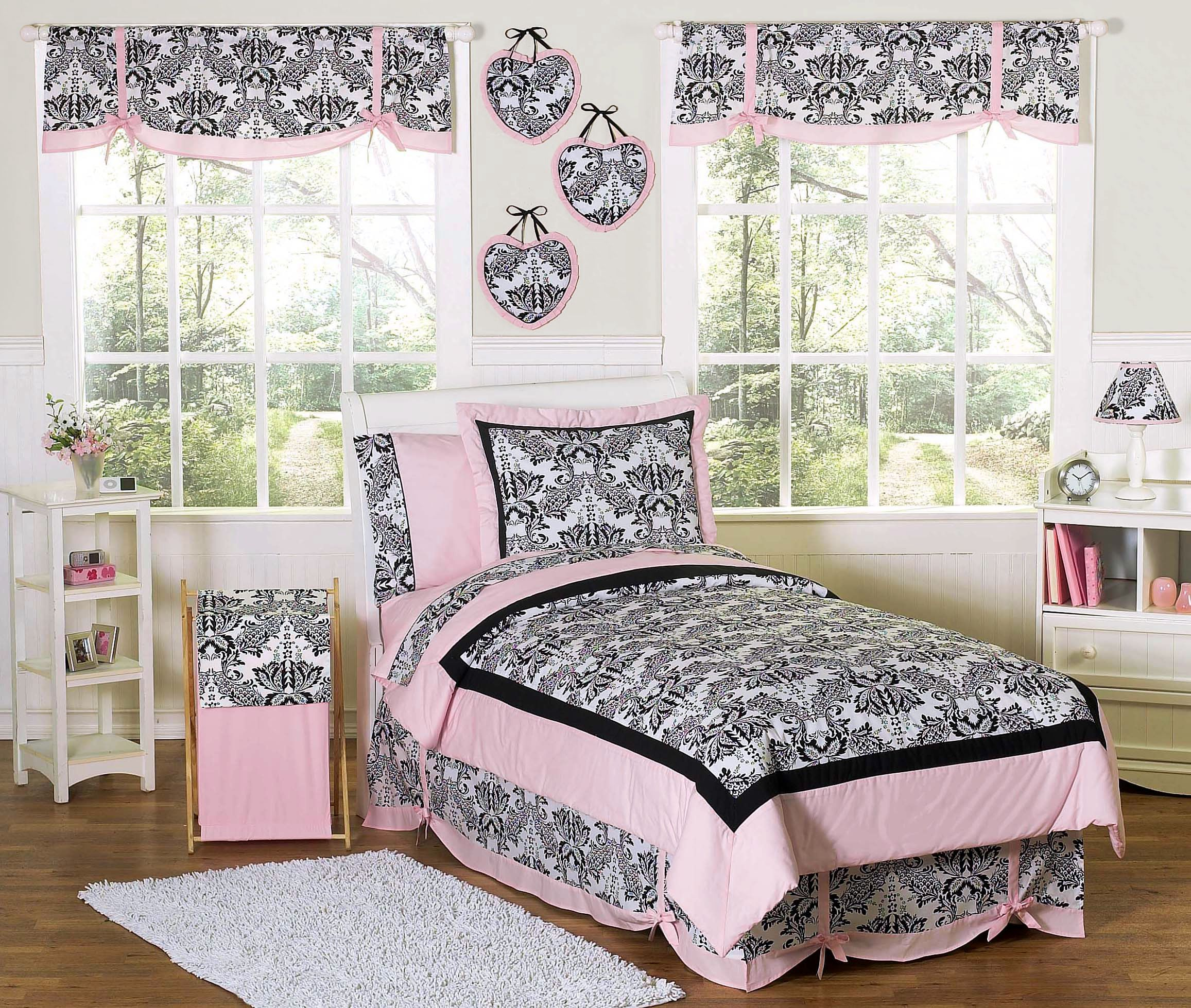 Pink black french style bedding twin full queen comforter sets for girls sophia teen beddinggirls bedding setsdamask