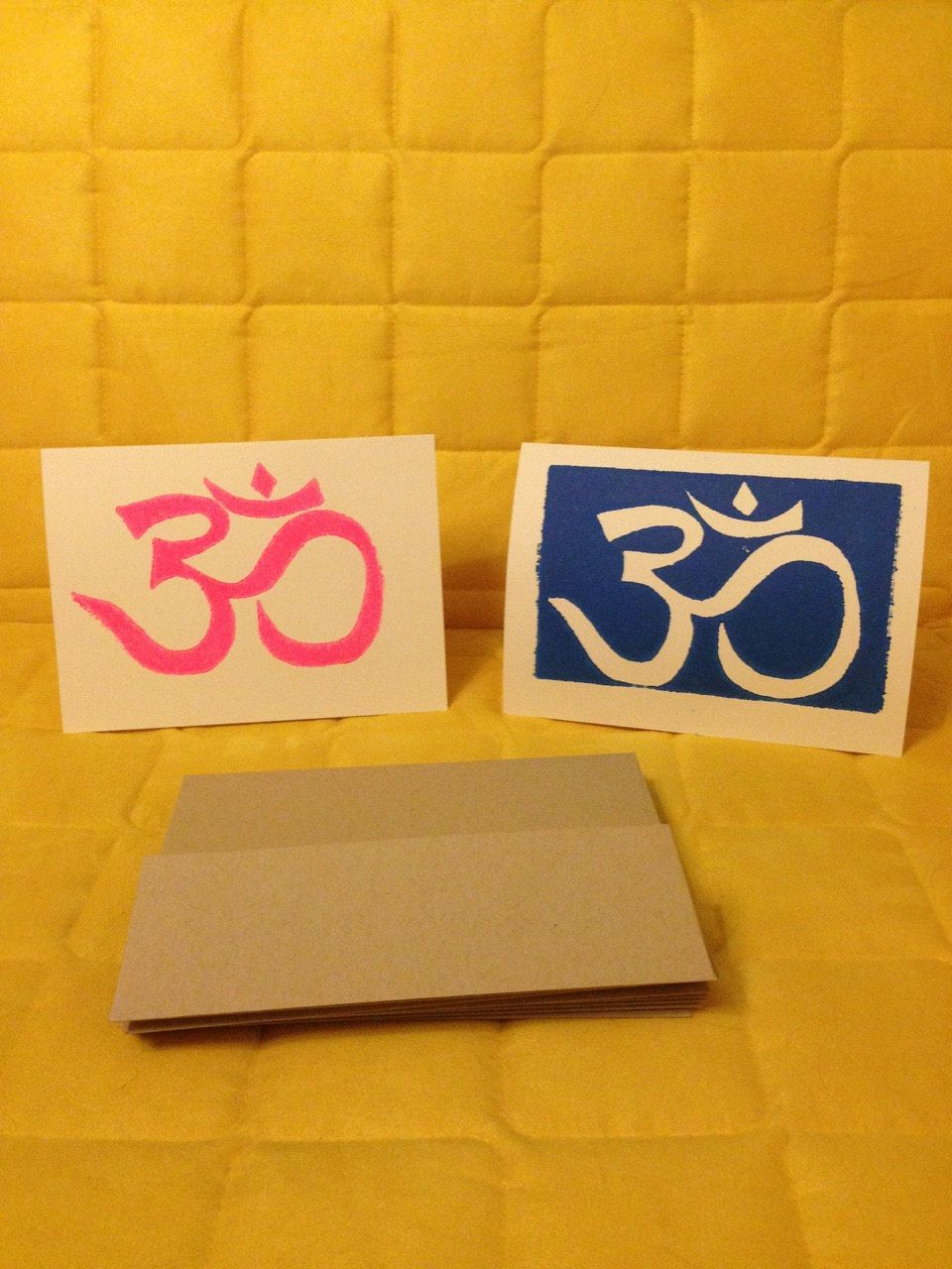 Linoleumboden Pinterest Blue And Pink Om Note Cards Linoleum Block Prints By