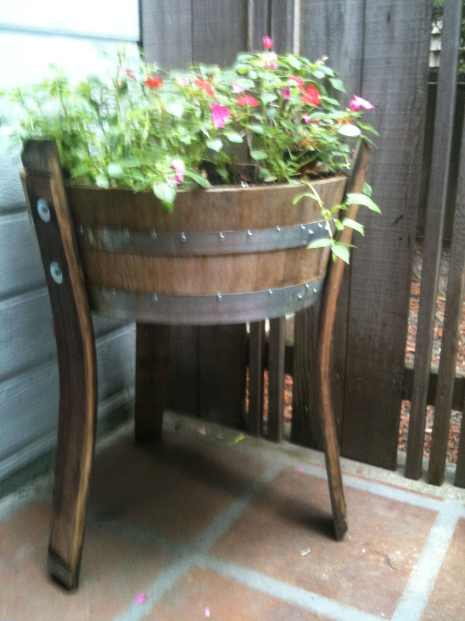 Legged Planter Quarter Barrel Planter With Stave Legs Diy Home Projects