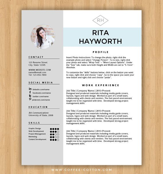 INSTANT DOWNLOAD RESUME TEMPLATE \ COVER LETTER Editable Microsoft - word document resume template free