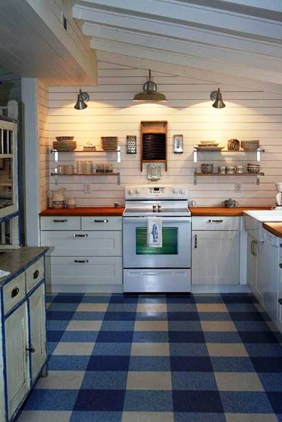 Lino for kitchen clever use of three colors makes a beautiful buffalo check v linoleum flooringkitchen