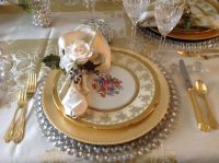 Dining Room- Place Setting, crystal and gold chargers with ...