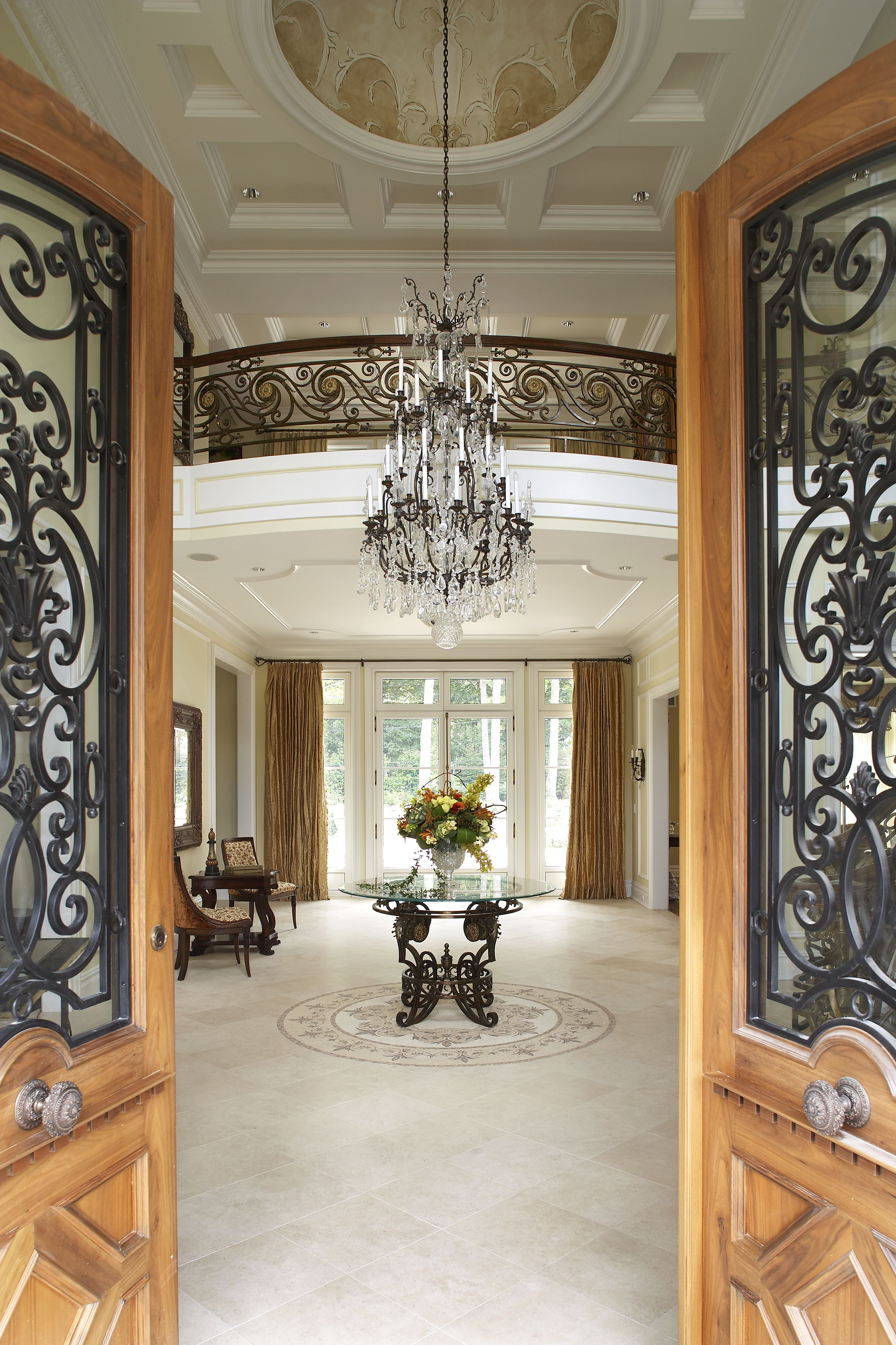 Beautiful Home Entrances Luxury Entryway Decors With Glass Chandelier Over Antique