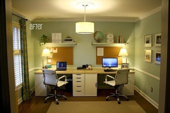 Home office idea DIY two person desk using IKEA Alex components - ikea home office ideas