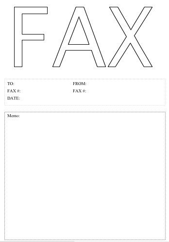 The word Fax is huge in an outline font on this printable fax - fax cover sheet to print