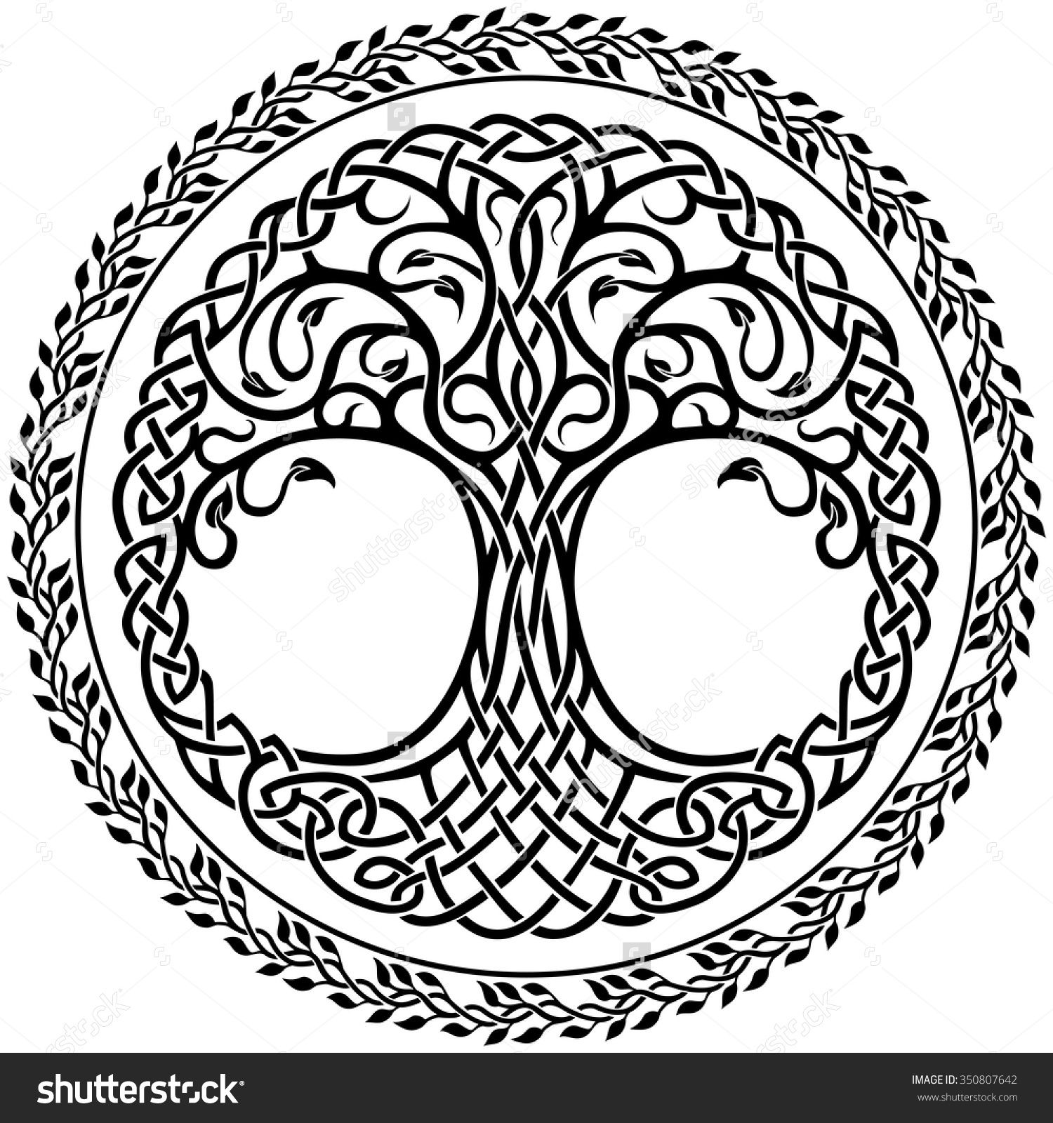 Vector ornament decorative celtic tree of life with floral round