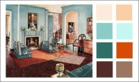 1929 Armstrong Living Room - Turquoise - Orange - Color ...